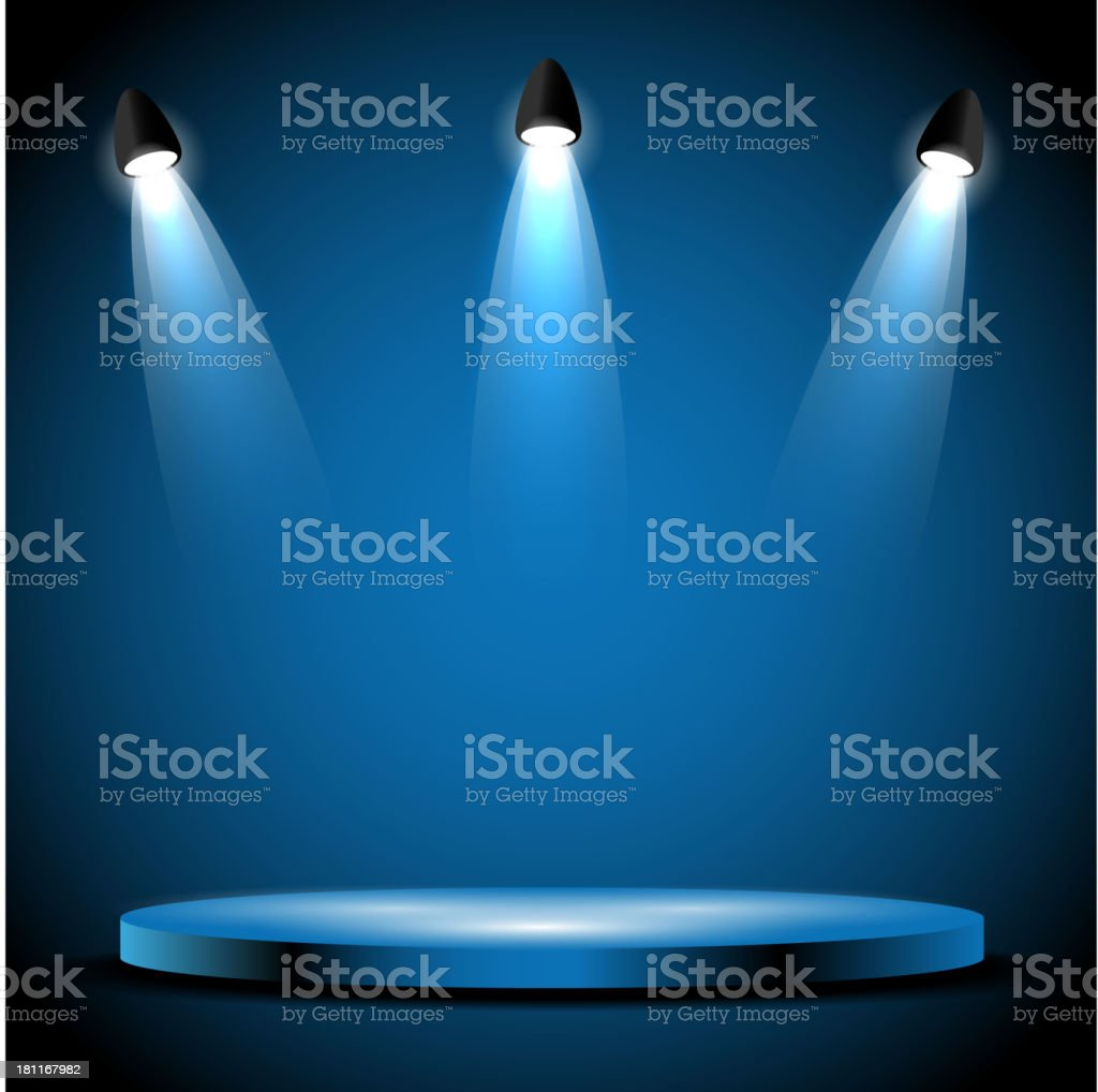 Stage With LIghts vector art illustration