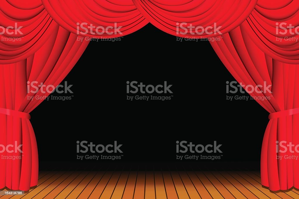 Stage with opened red curtain royalty-free stock vector art