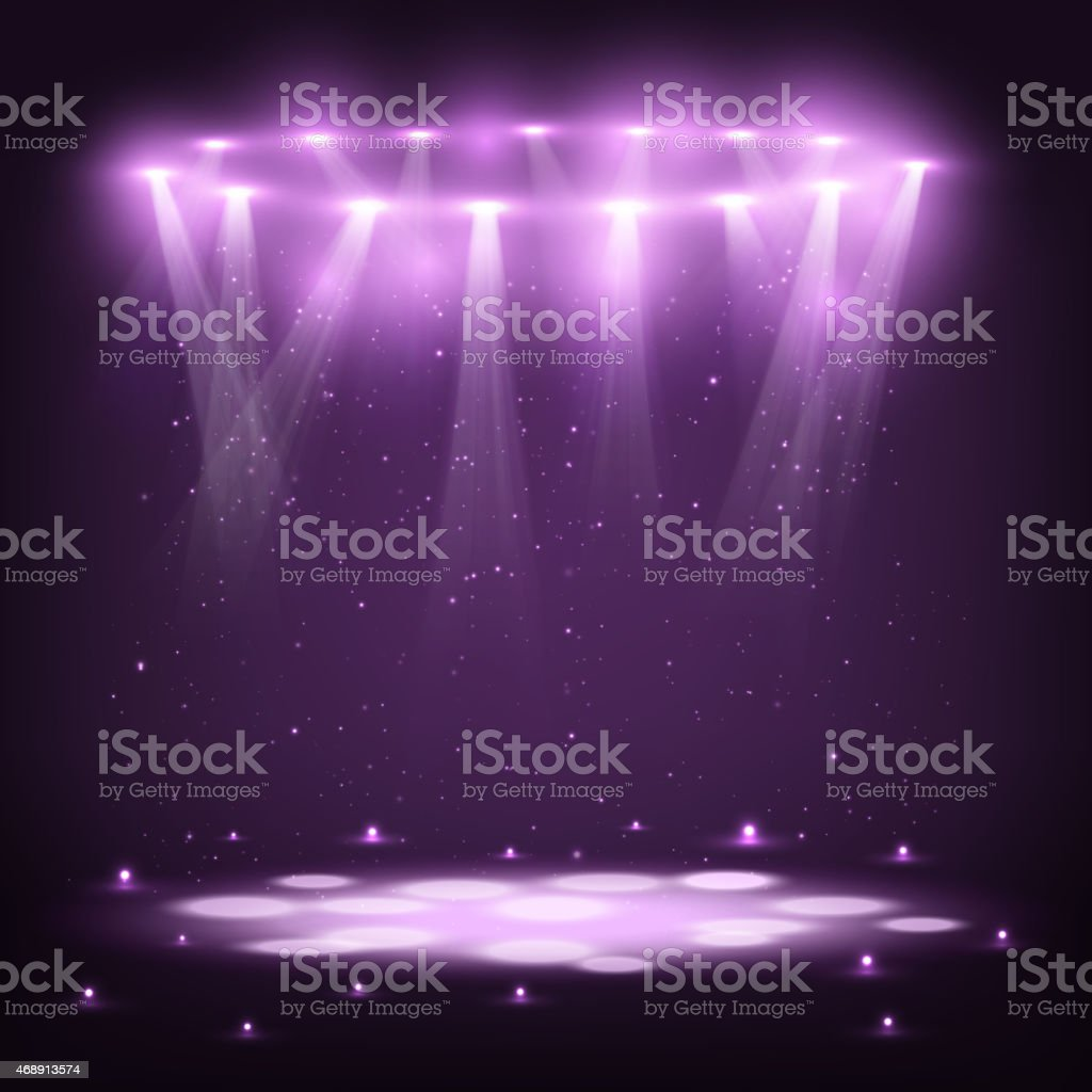 Stage with Spotlights and Spark Rain. vector art illustration