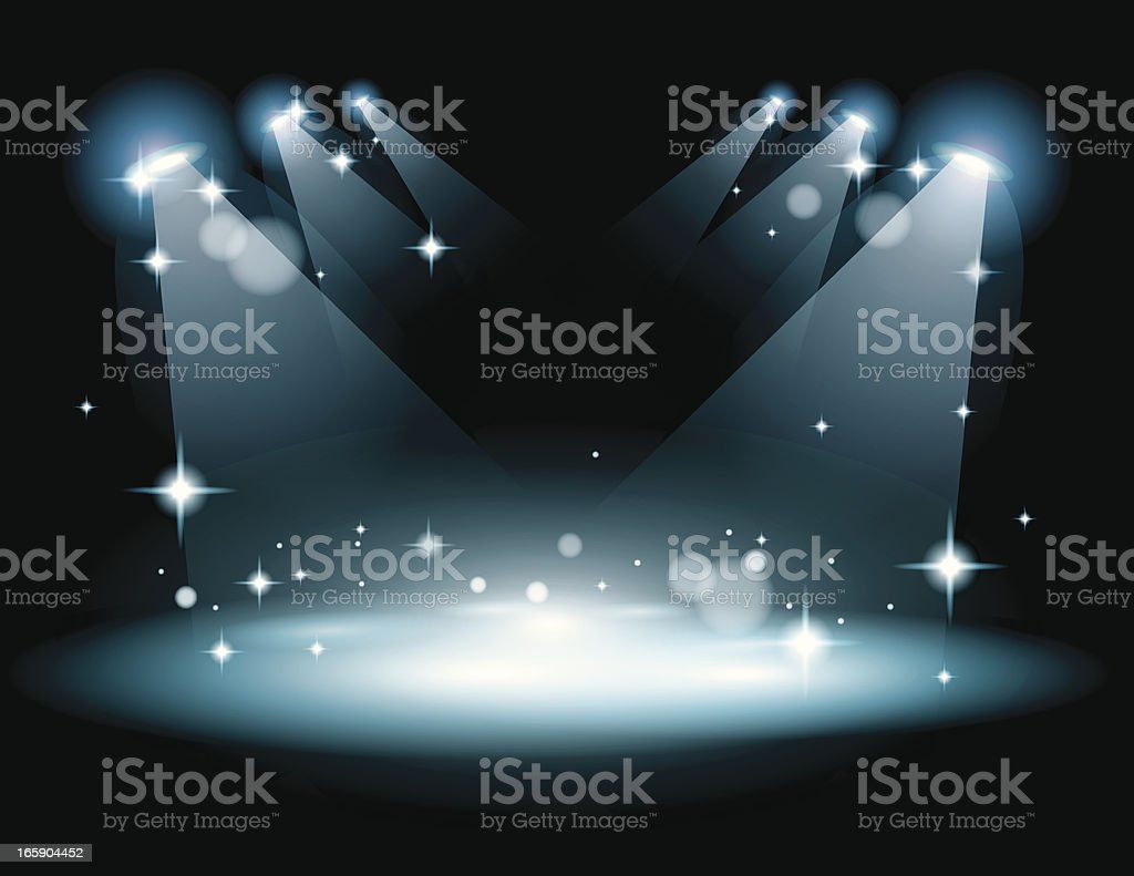 Stage with strobe lights vector art illustration