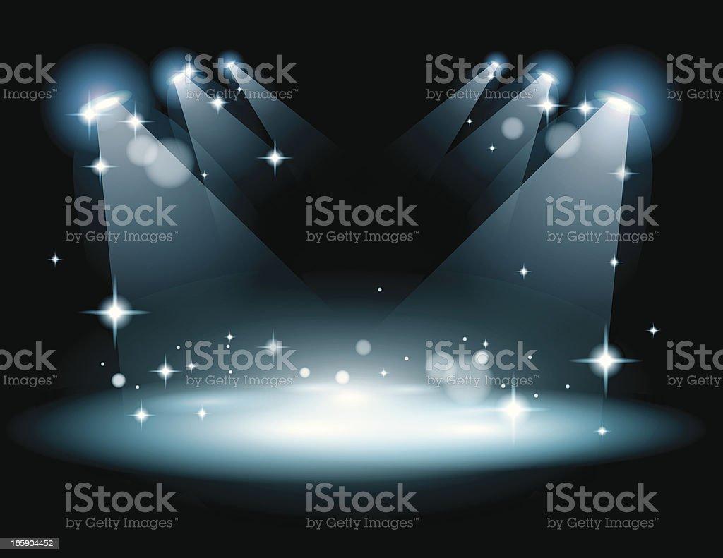Stage with strobe lights vector art illustration