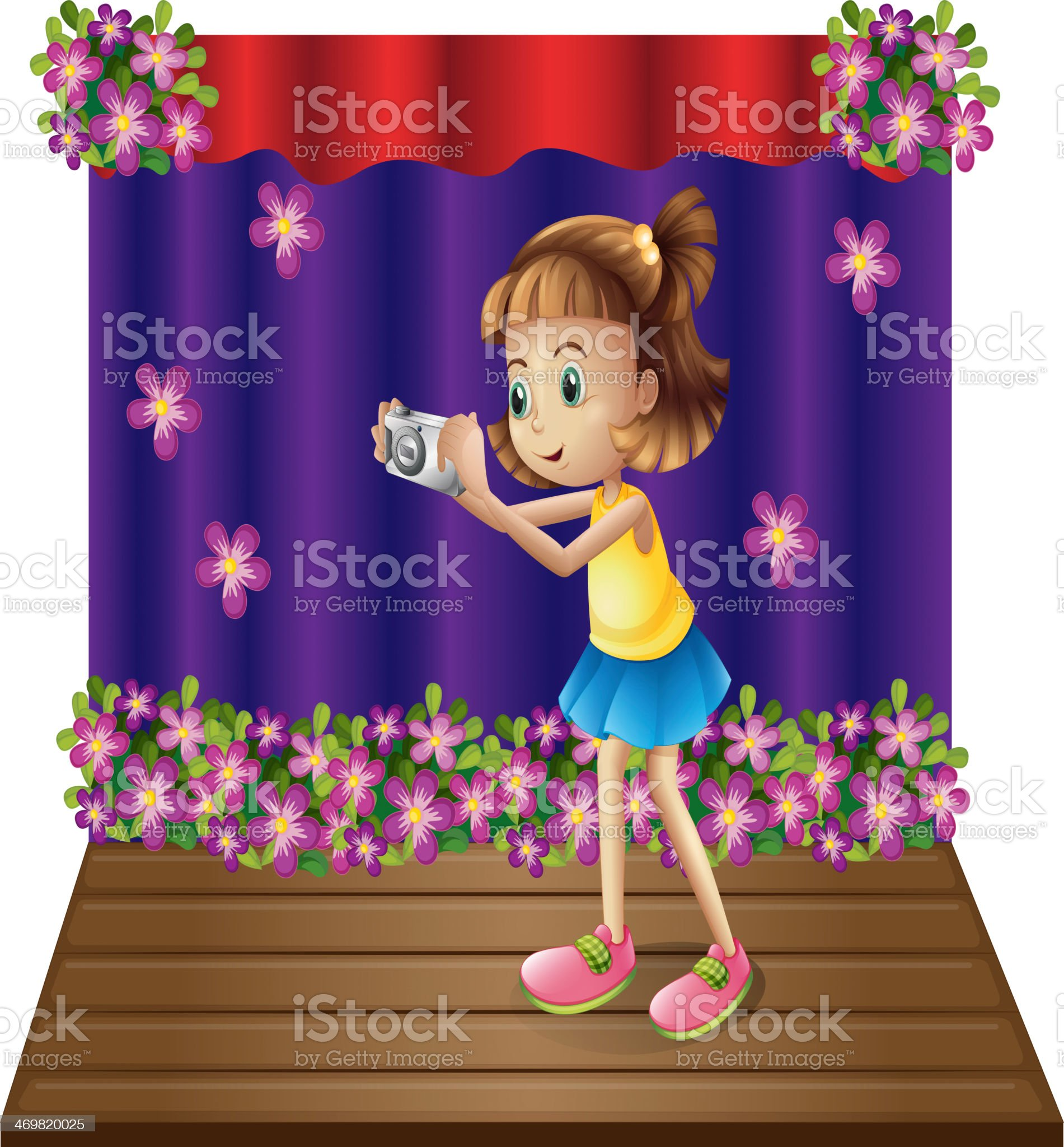 stage with young girl holding camera royalty-free stock vector art