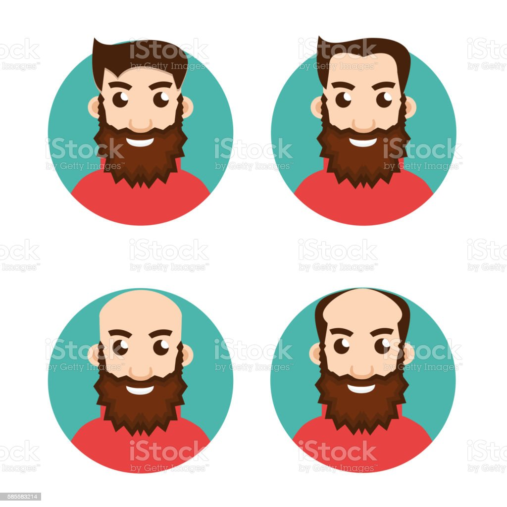 Stages Of Hair Loss icon vector art illustration