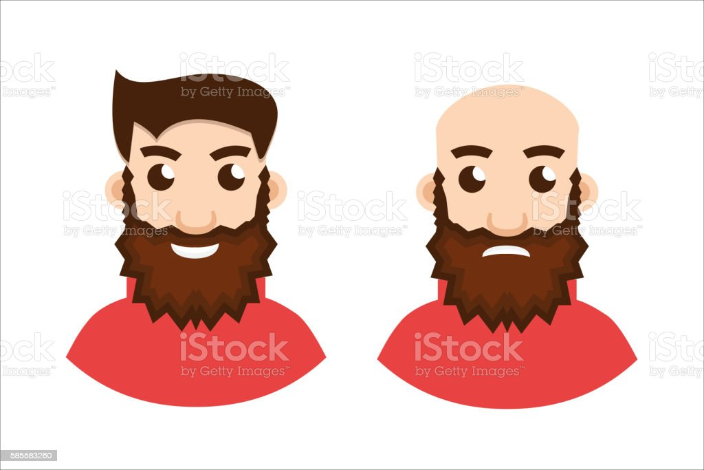 Stages Of Hair Loss, two stages vector art illustration