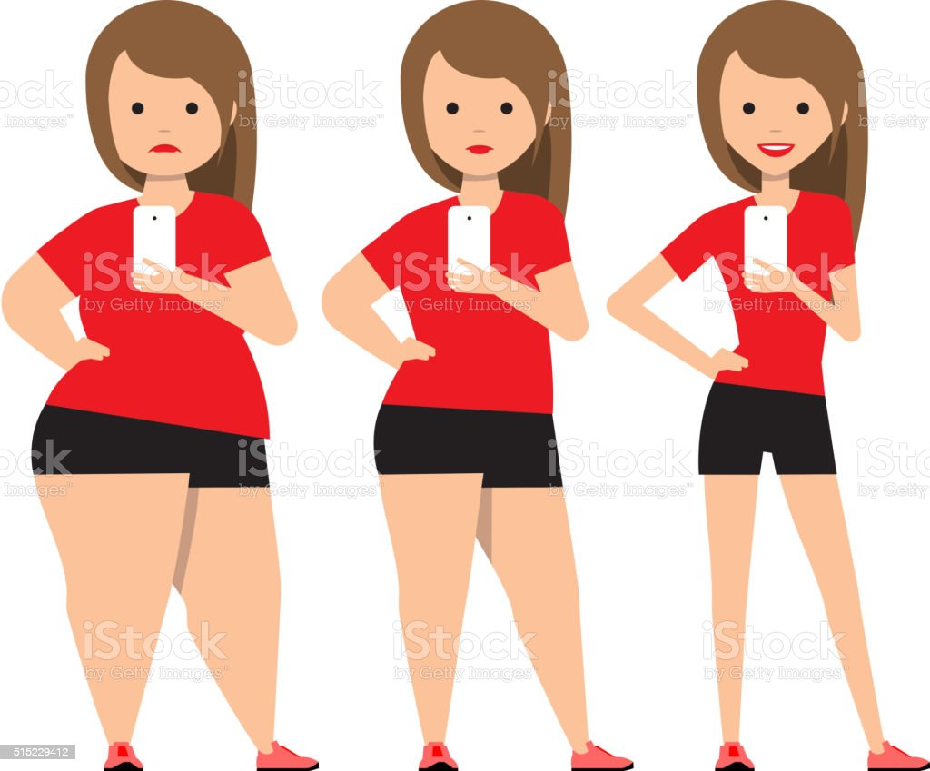 stages weight loss before and after. vector art illustration