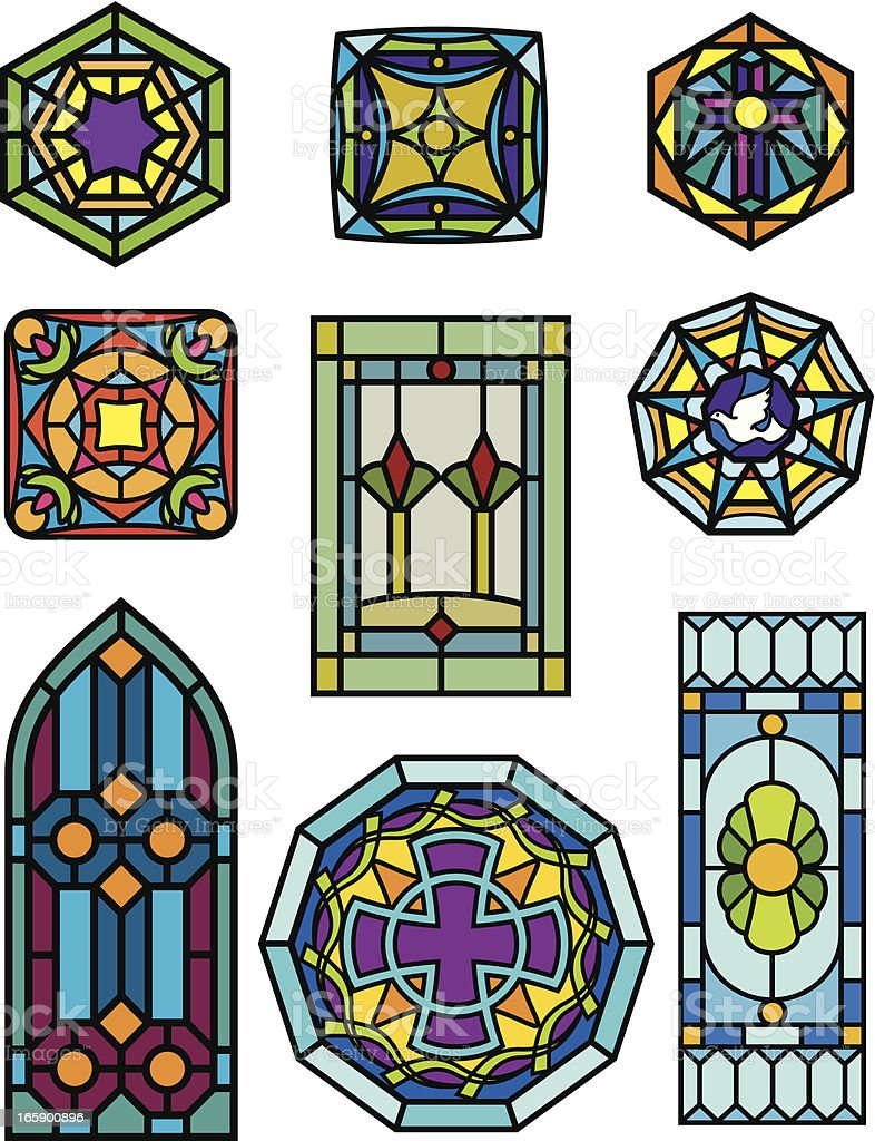 stain glass windows vector art illustration