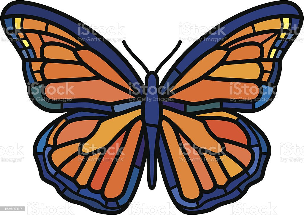 Stained glass monarch butterfly royalty-free stock vector art