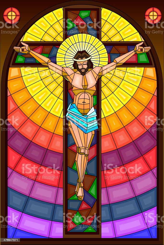 Stained Glass Painting of Crucifixion vector art illustration