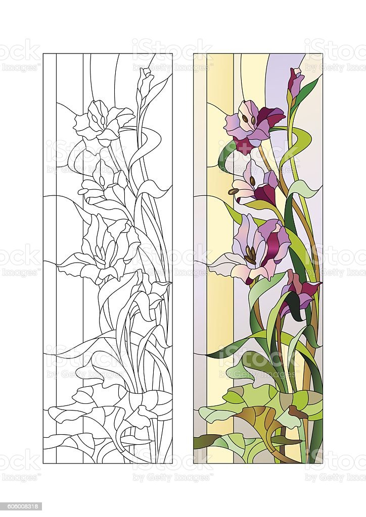 Stained glass pattern with gladioli vector art illustration