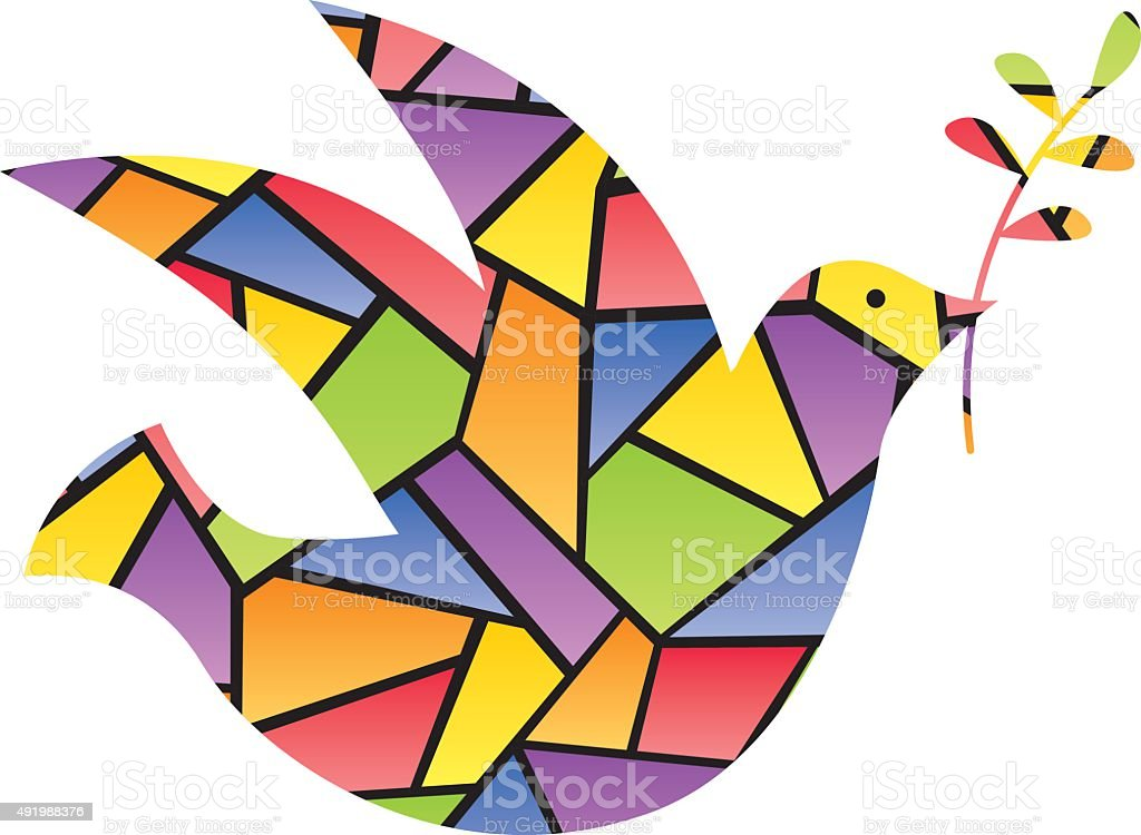 Stained Glass Peace Dove vector art illustration