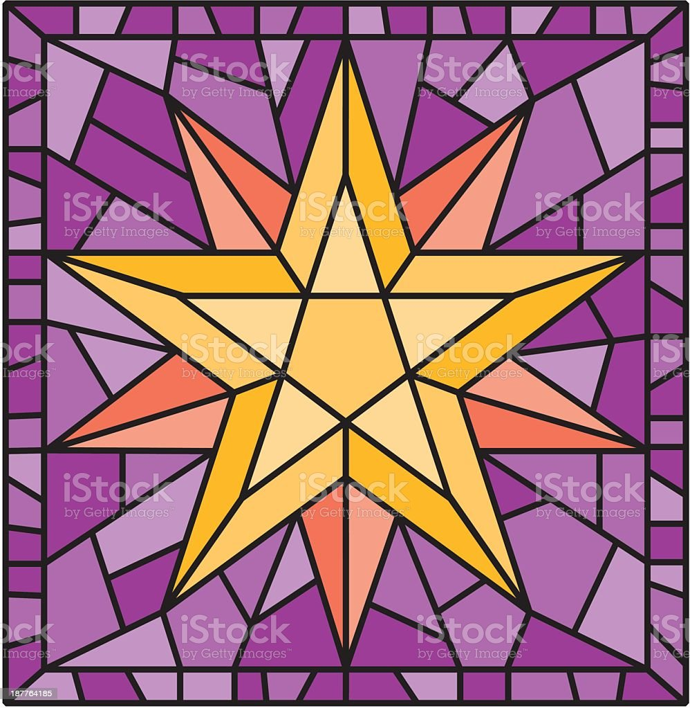 Stained Glass Star vector art illustration