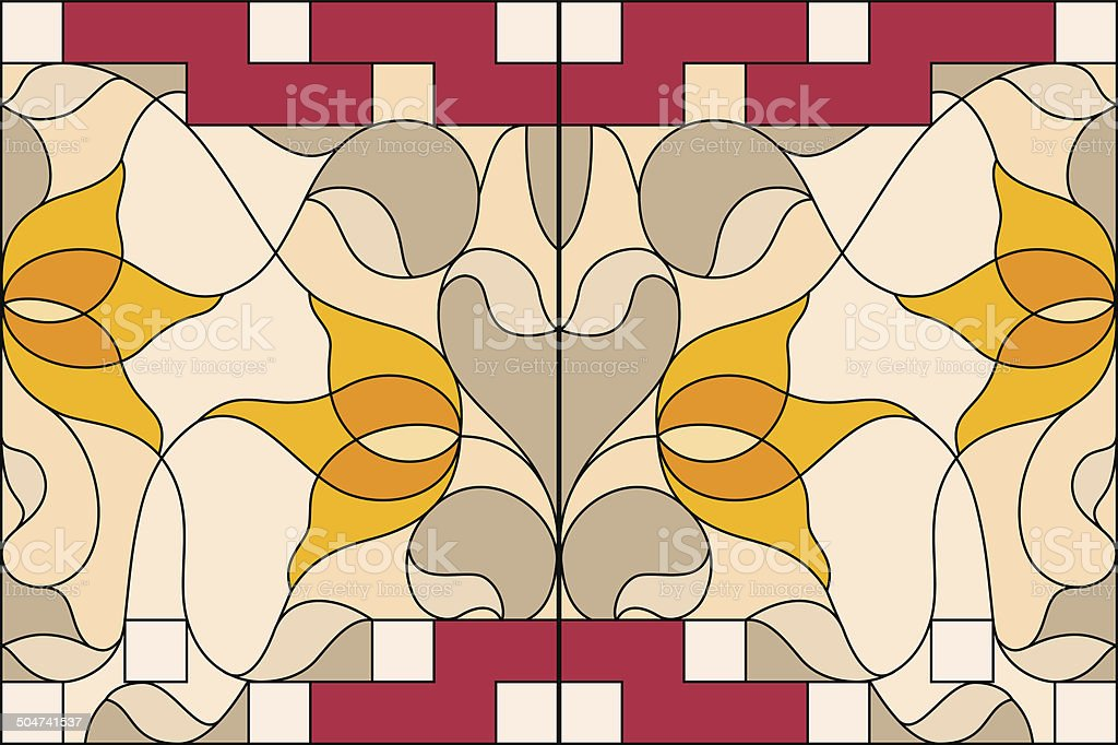 Stained glass window. Composition of stylized tulips, leaves, ge vector art illustration