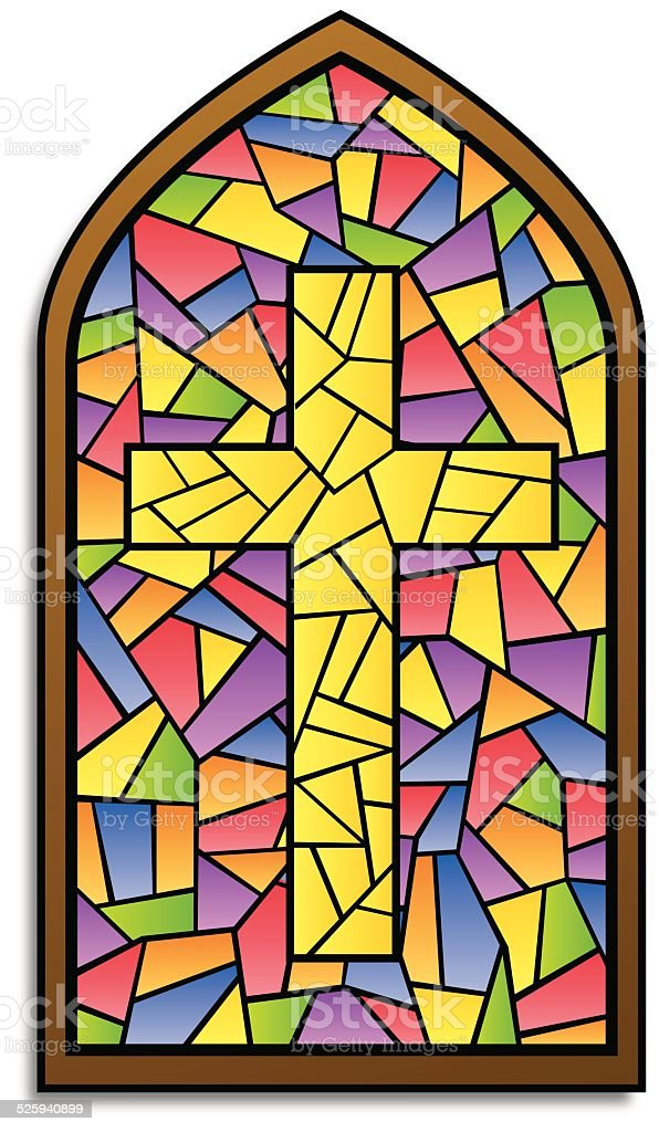 Stained Glass Window Cross vector art illustration