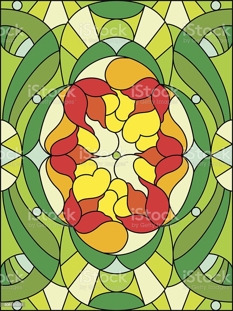 Stained glass window. Floral pattern. Composition of stylized fl vector art illustration