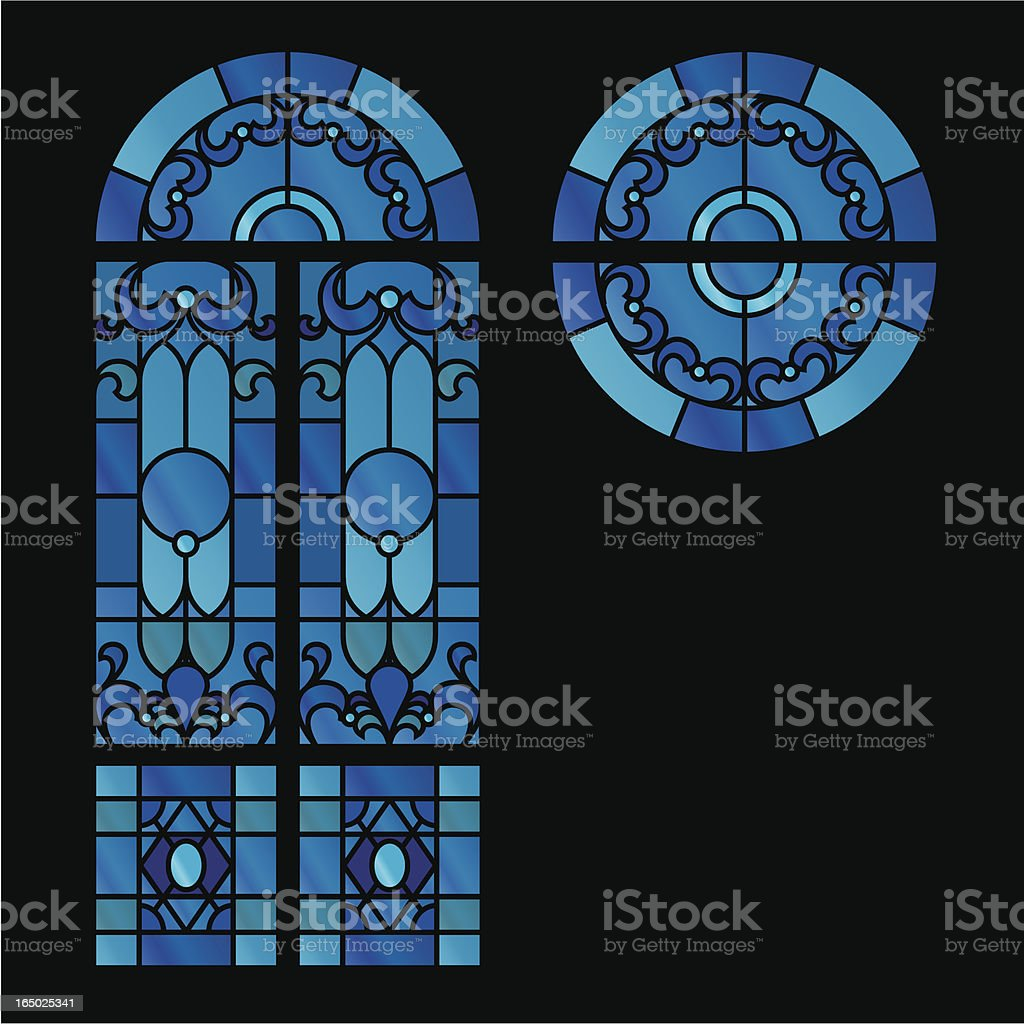 Stained glass window graphic images vector art illustration