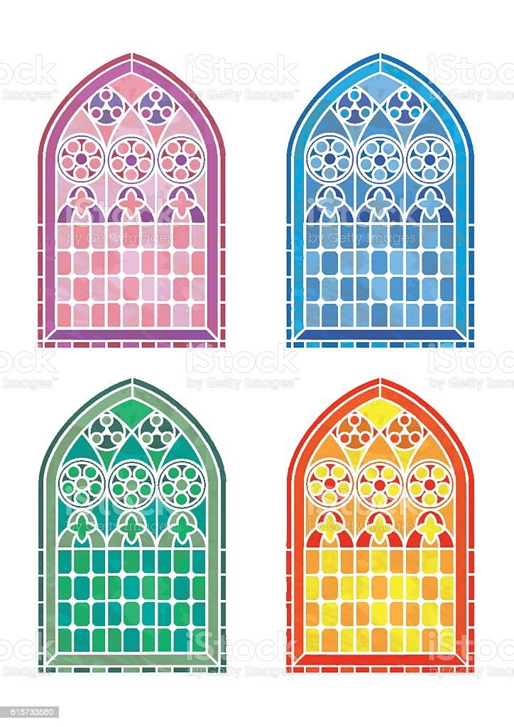Stained glass window stencils vector art illustration