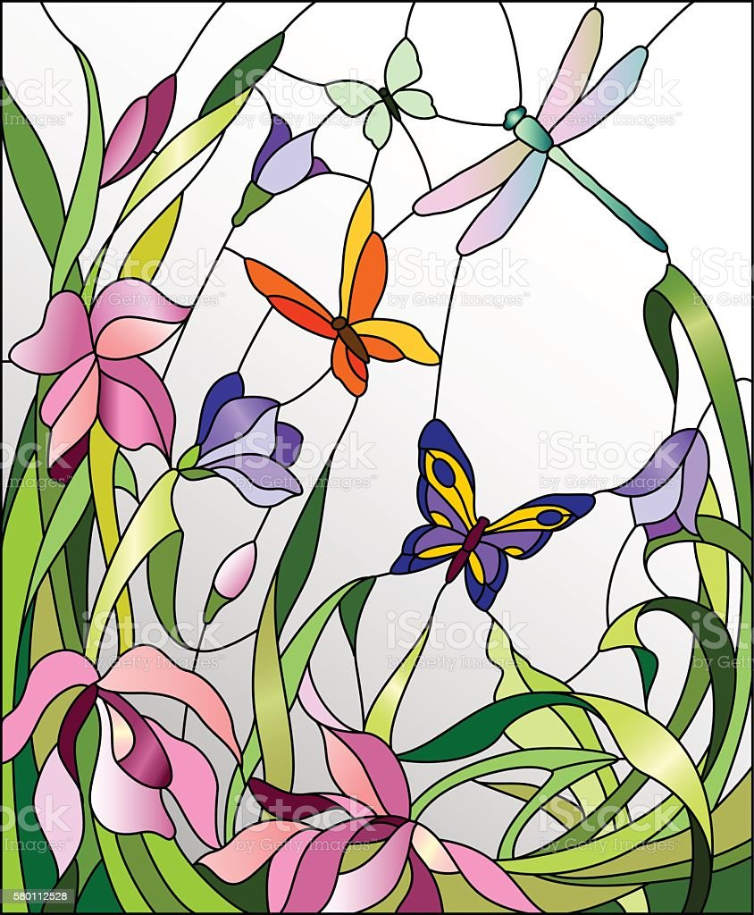 Stained glass window vector art illustration