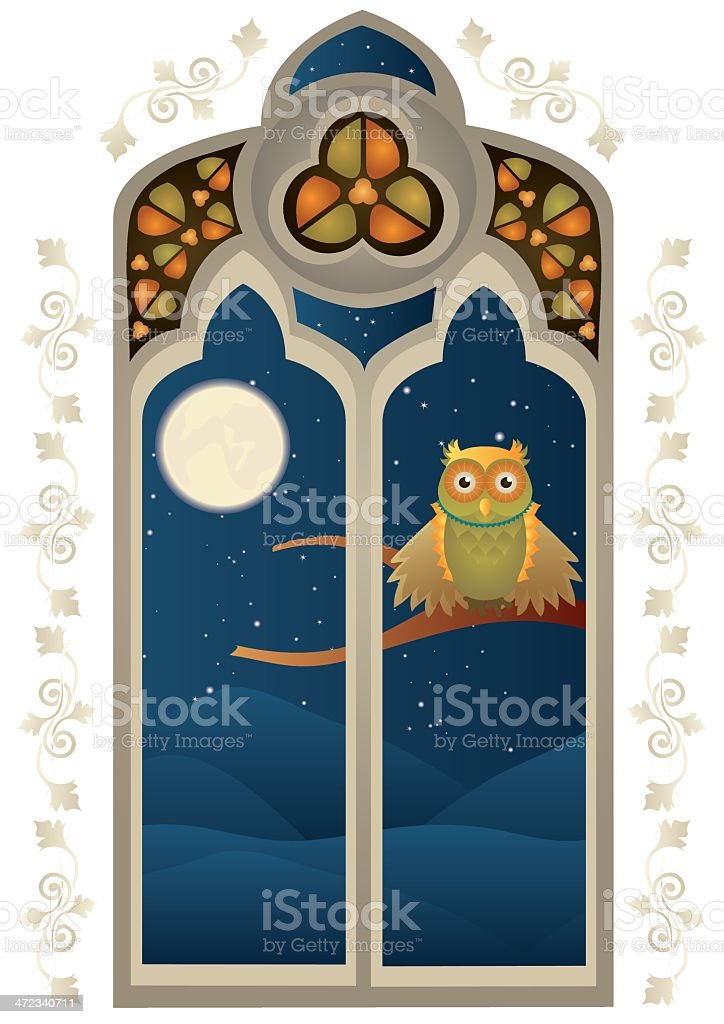 Stained Glass Window with a Owl royalty-free stock vector art