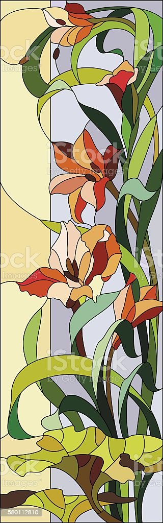 Stained glass window with gladioli vector art illustration