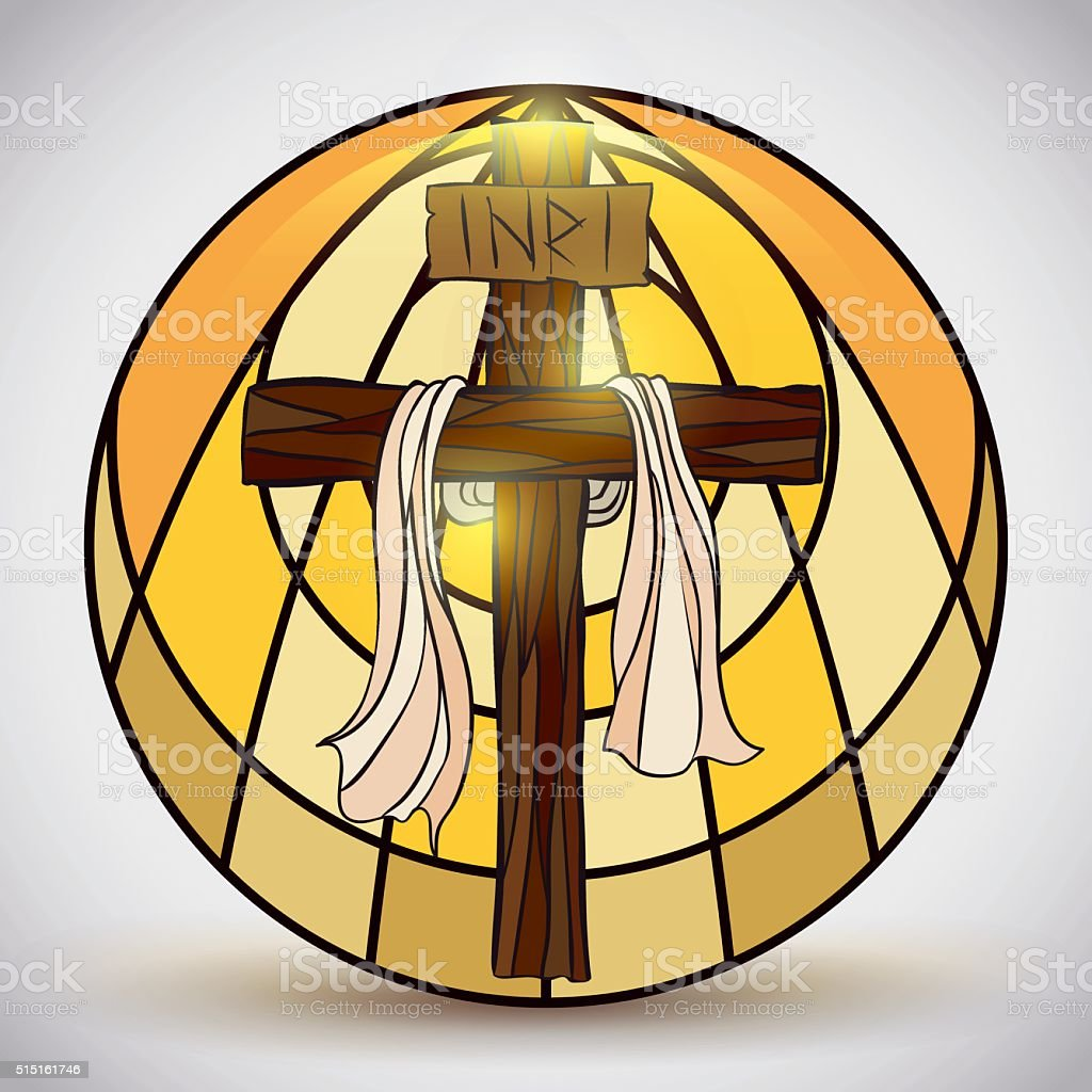 Stained Glass with Holy Cross Symbol Inside vector art illustration
