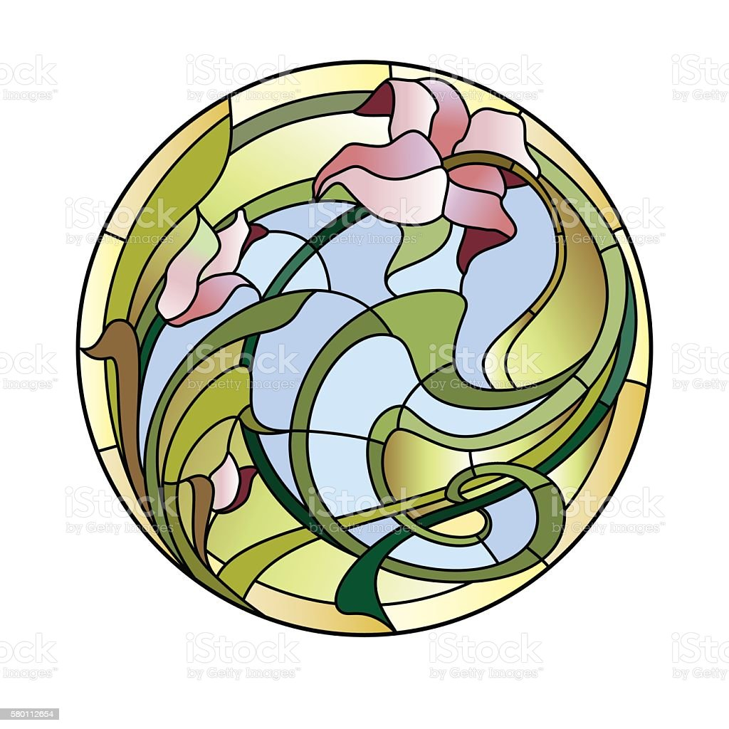 Stained-glass ceiling light vector art illustration