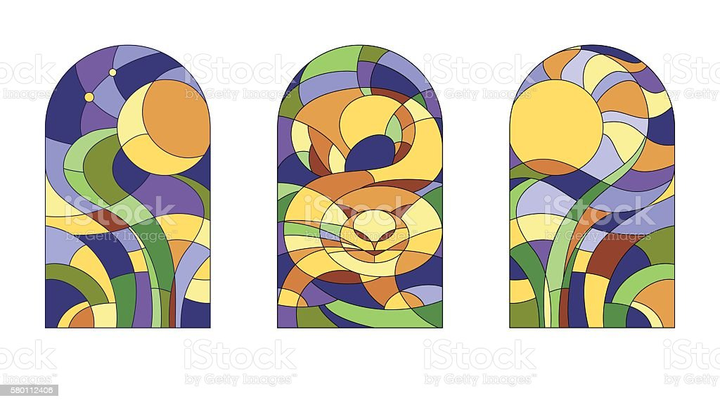 Stained-glass  pattern with cat vector art illustration