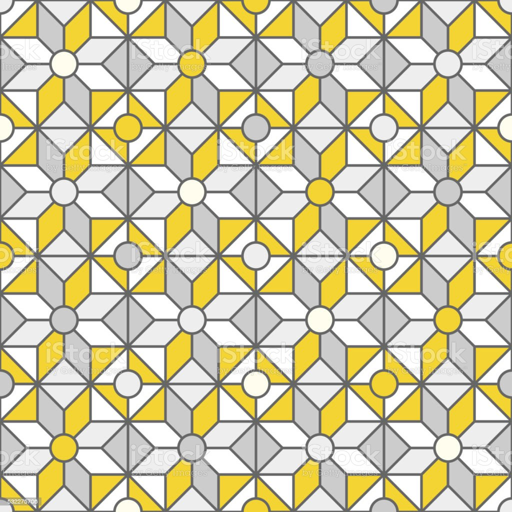 Stained-glass window pattern with simple shapes. vector art illustration