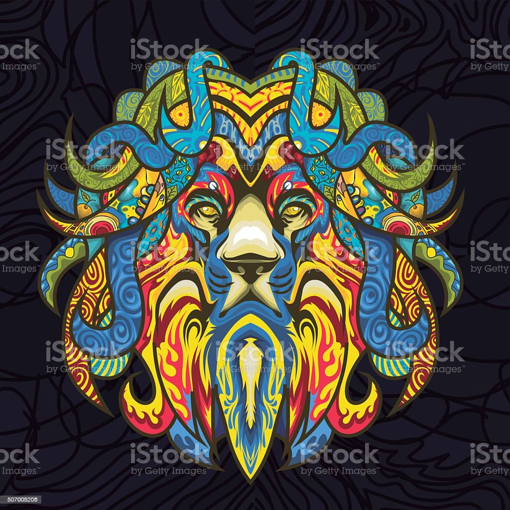 Stained-Glass-Lion vector art illustration