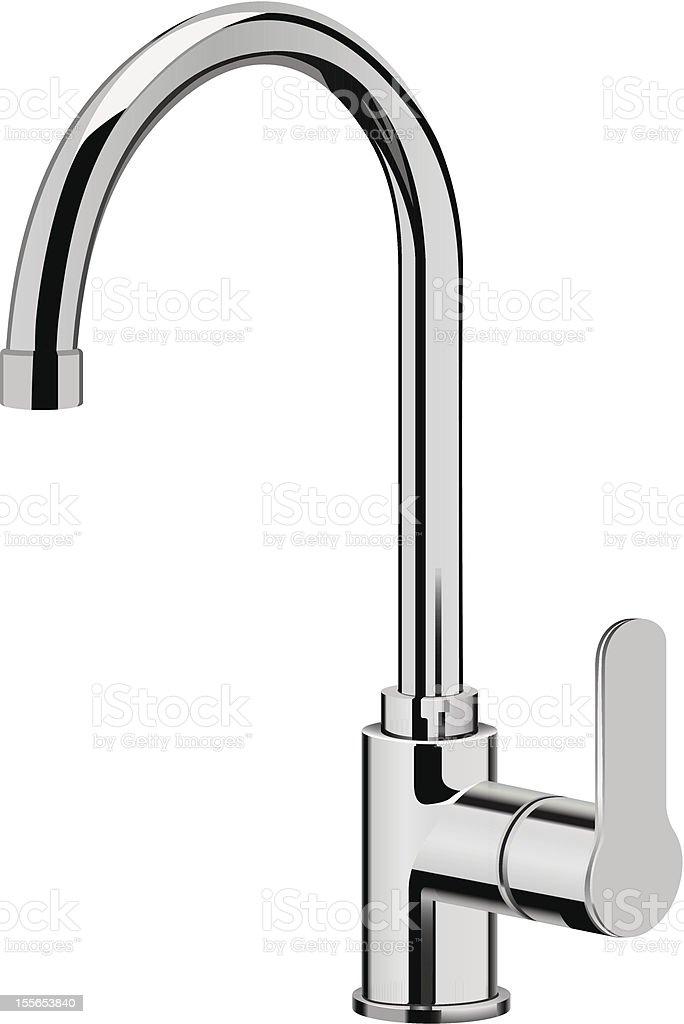 Stainless steel kitchen faucet vector art illustration