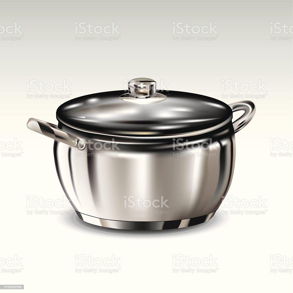 Stainless steel pot vector art illustration