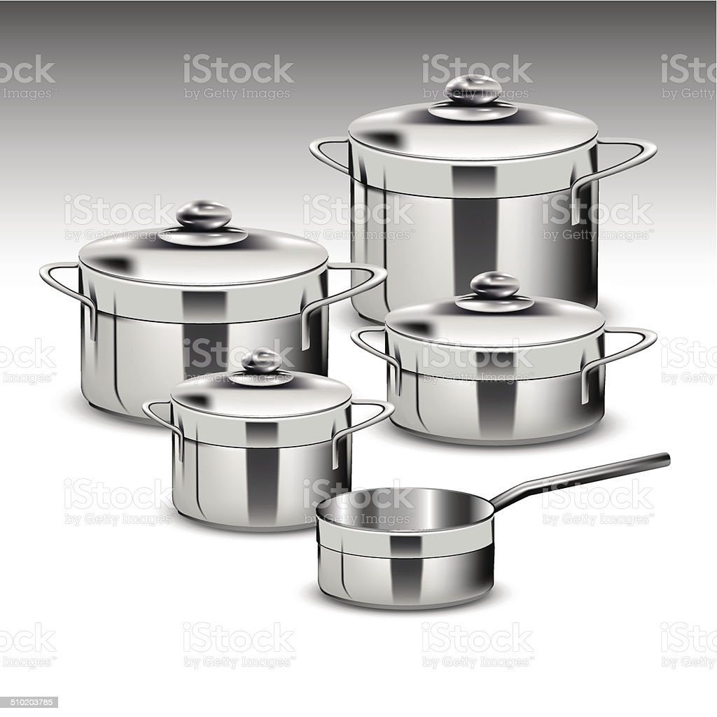 Stainless steel pots vector art illustration