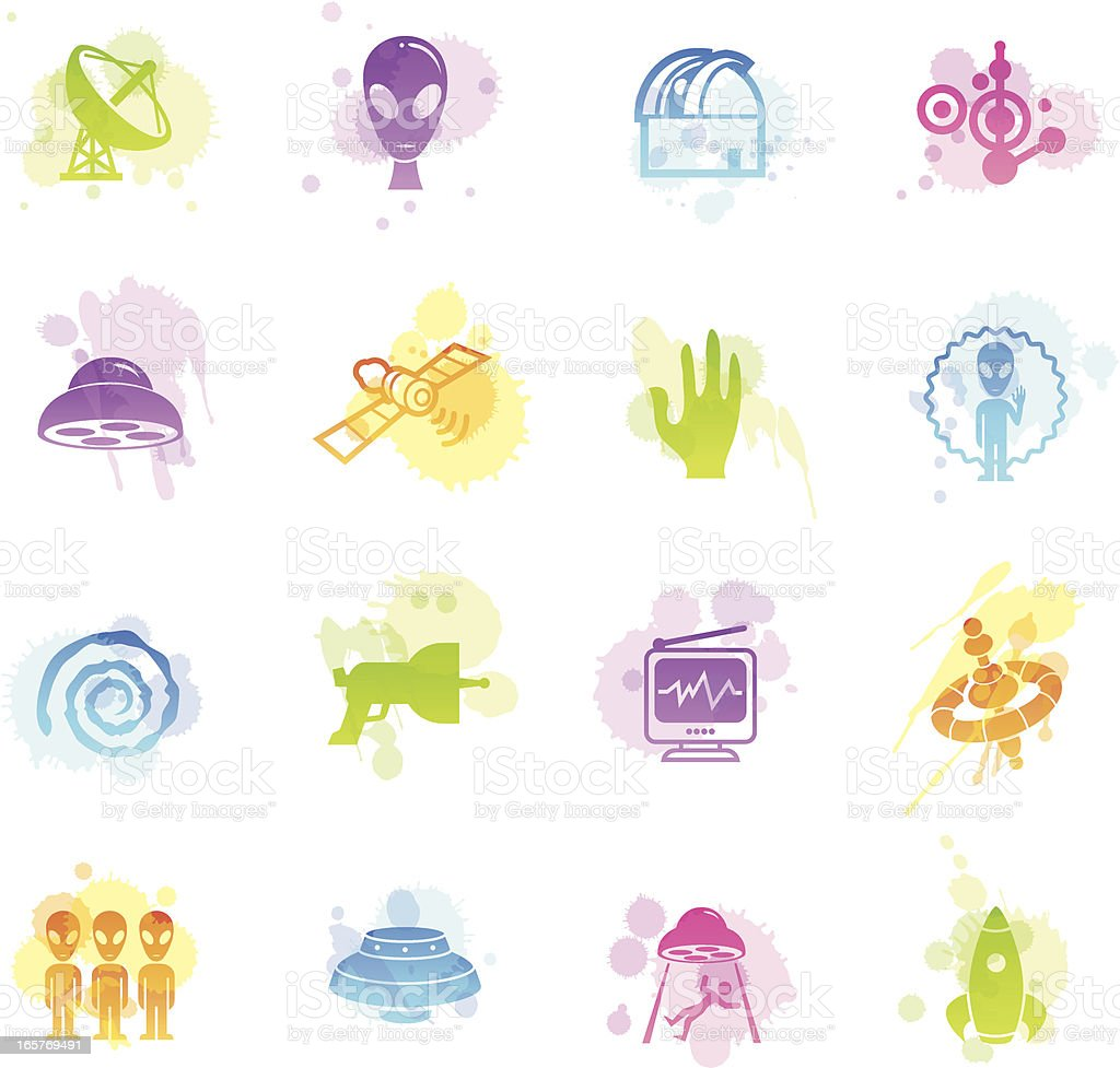 Stains Icons - Alien Contact royalty-free stock vector art