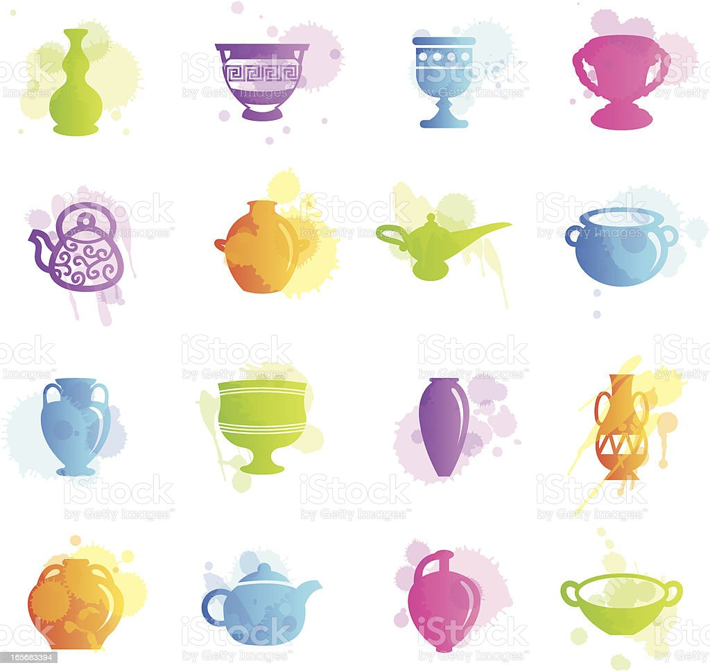 Stains Icons - Ancient Pottery royalty-free stock vector art