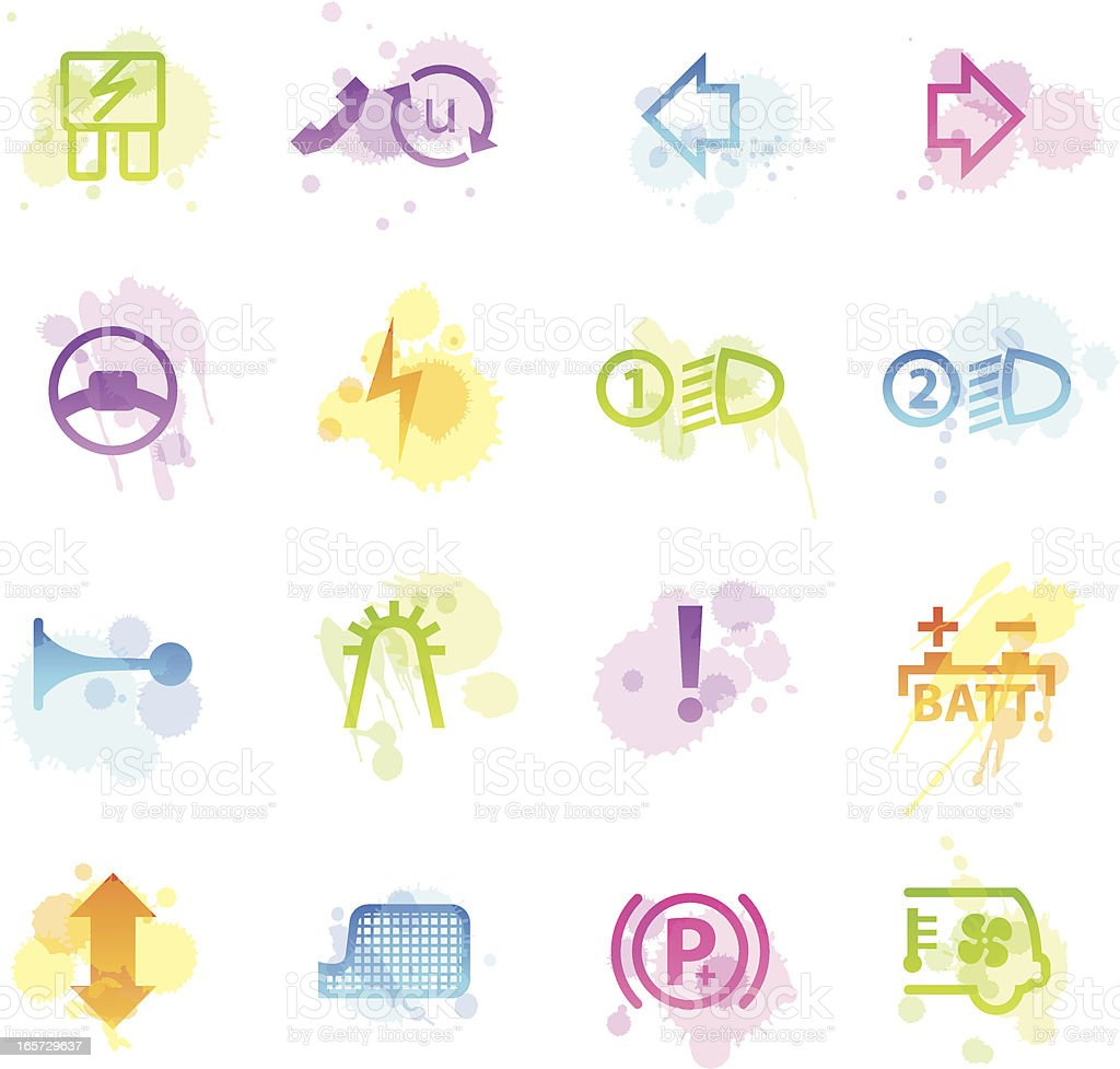 Stains Icons - Car Control Indicators vector art illustration