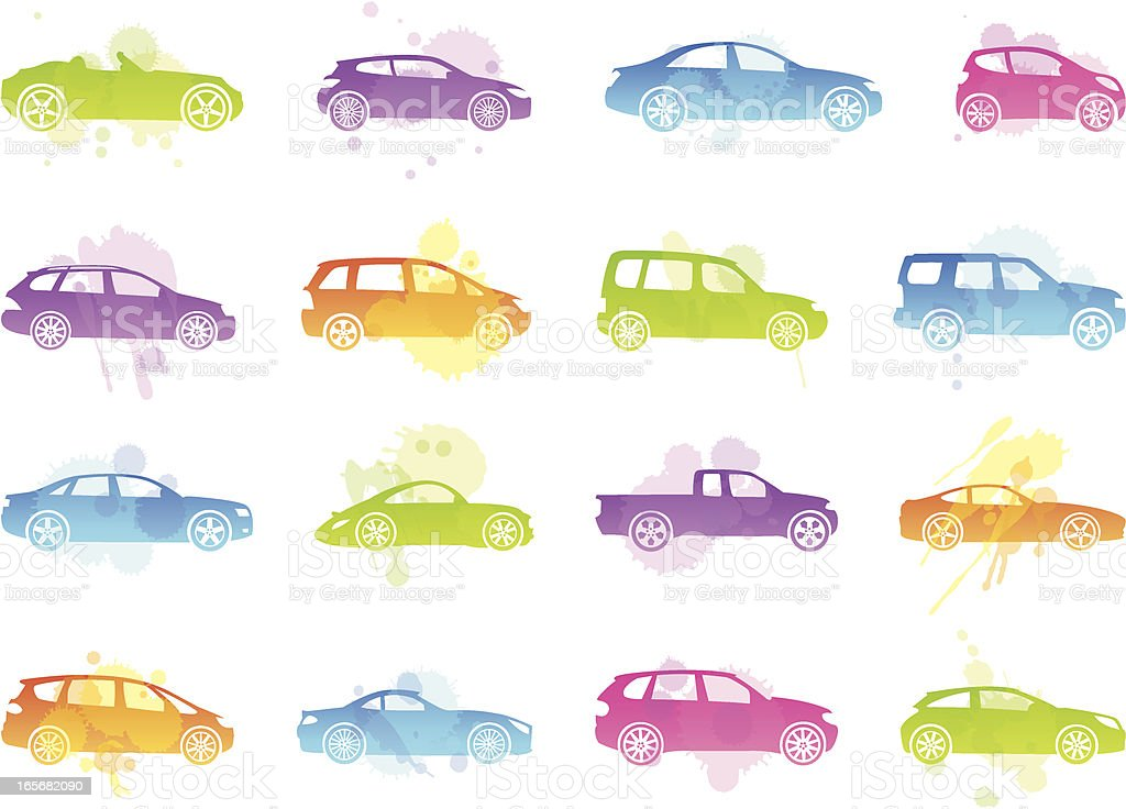 Stains Icons - Car Silhouettes vector art illustration