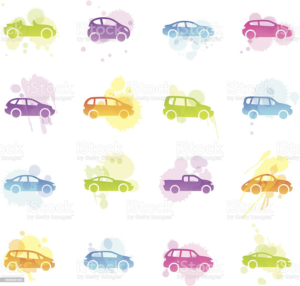 Stains Icons - Cartoon Cars vector art illustration