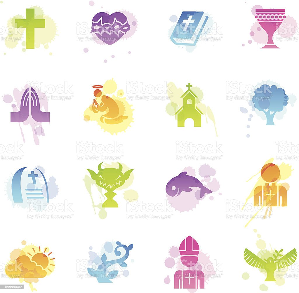 Stains Icons - Christian royalty-free stock vector art