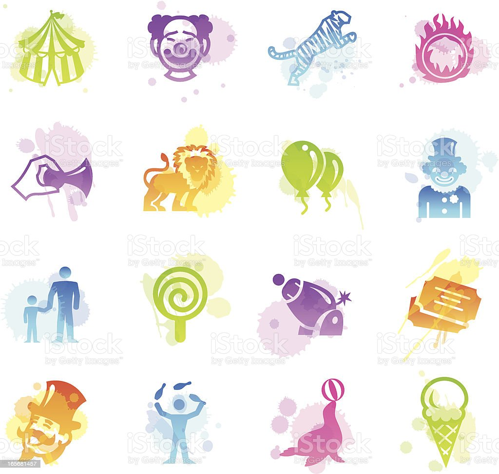 Stains Icons - Circus royalty-free stock vector art