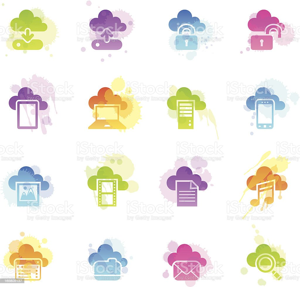 Stains Icons - Cloud Computing royalty-free stock vector art