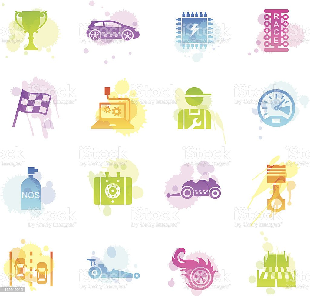 Stains Icons - Drag Racing vector art illustration