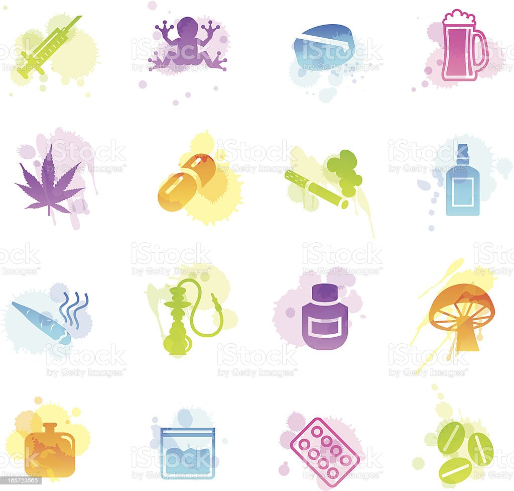 Stains Icons - Drugs vector art illustration