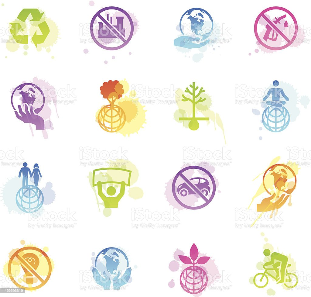 Stains Icons - Earth Day royalty-free stock vector art