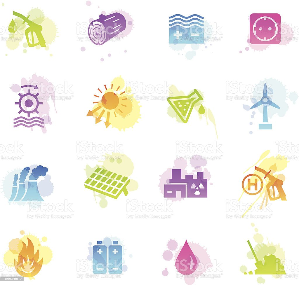 Stains Icons - Energy Sources royalty-free stock vector art