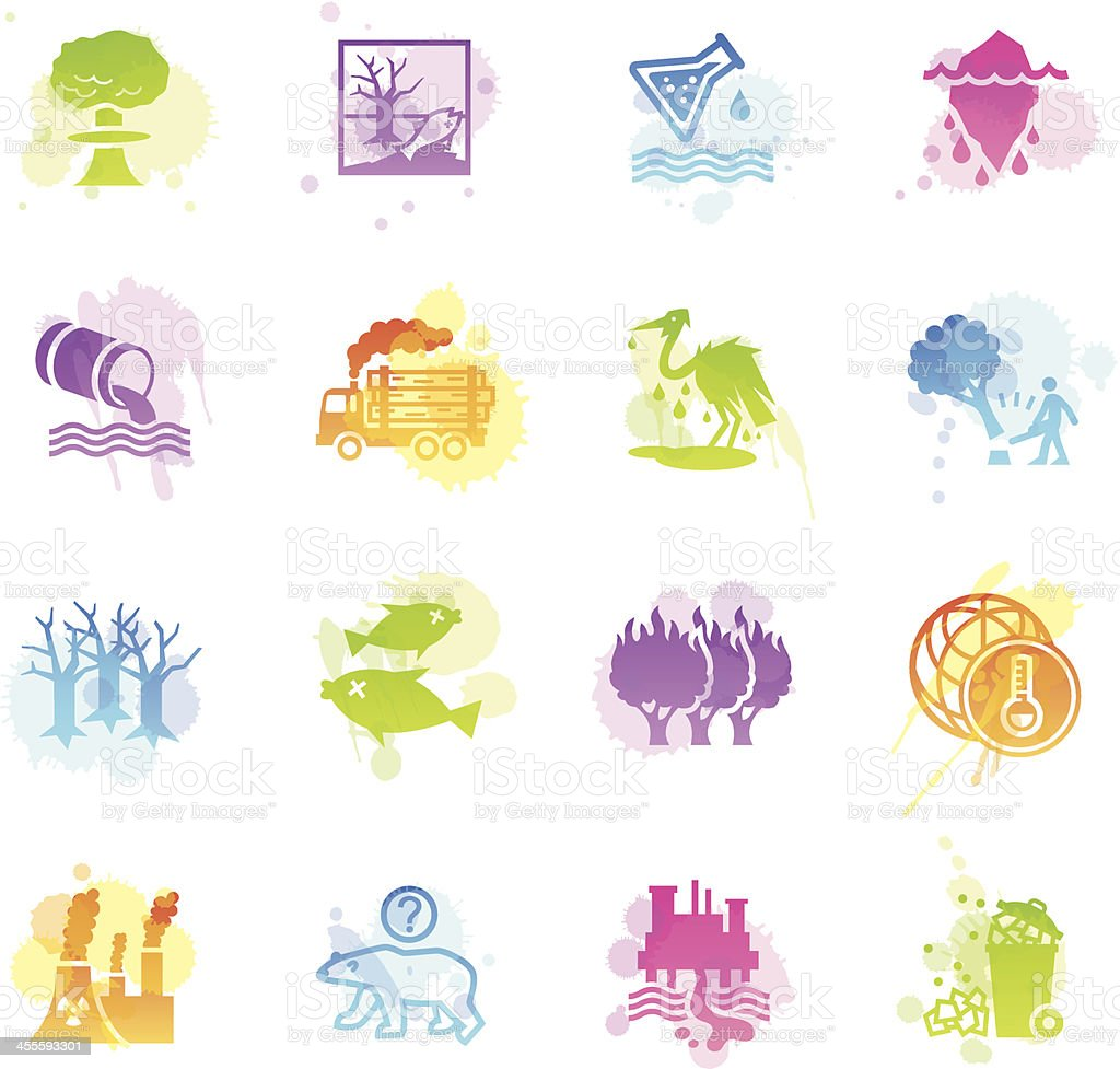 Stains Icons - Environmental Damage royalty-free stock vector art