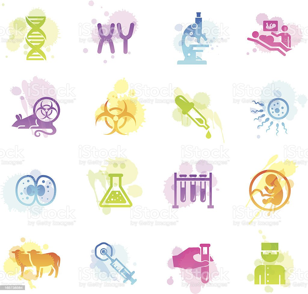 Stains Icons - Genetics & Cloning royalty-free stock vector art