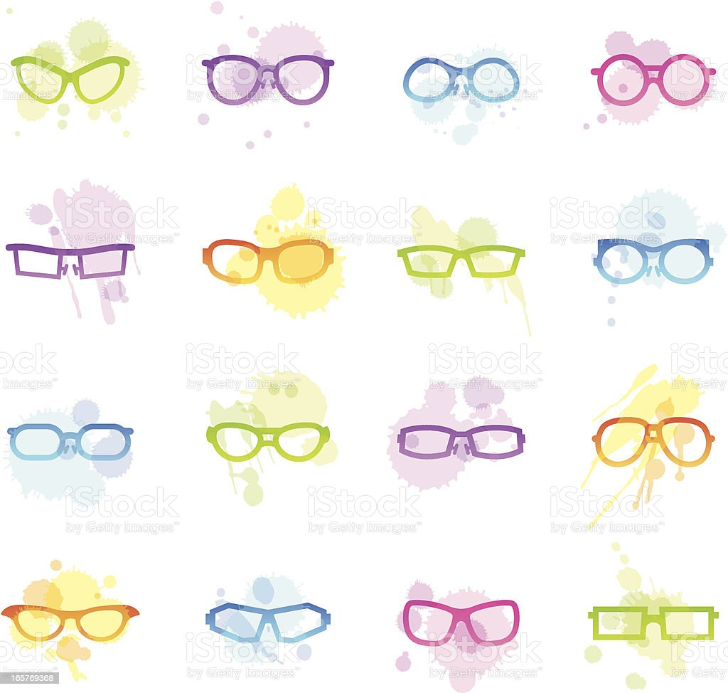 Stains Icons - Glasses vector art illustration