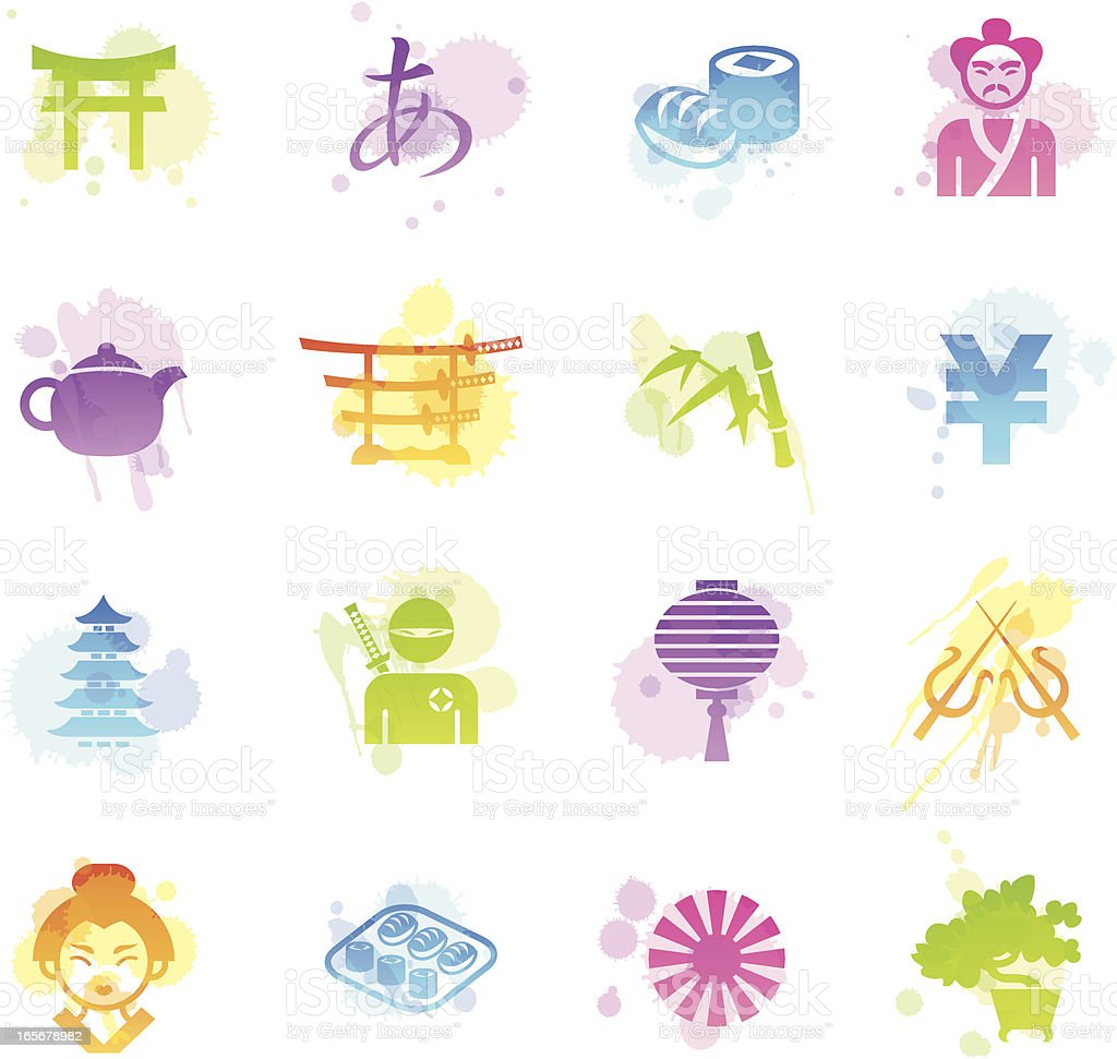 Stains Icons - Japan royalty-free stock vector art