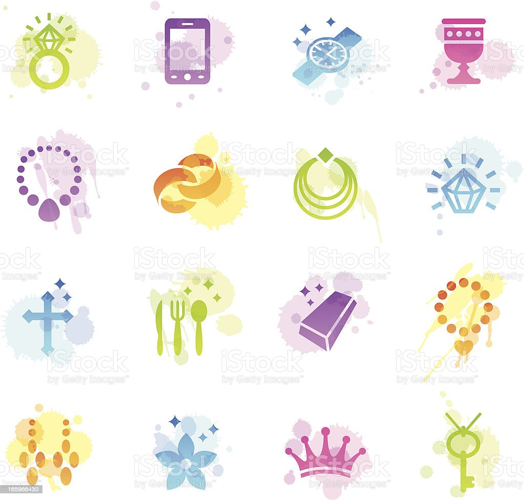 Stains Icons - Jewellery royalty-free stock vector art