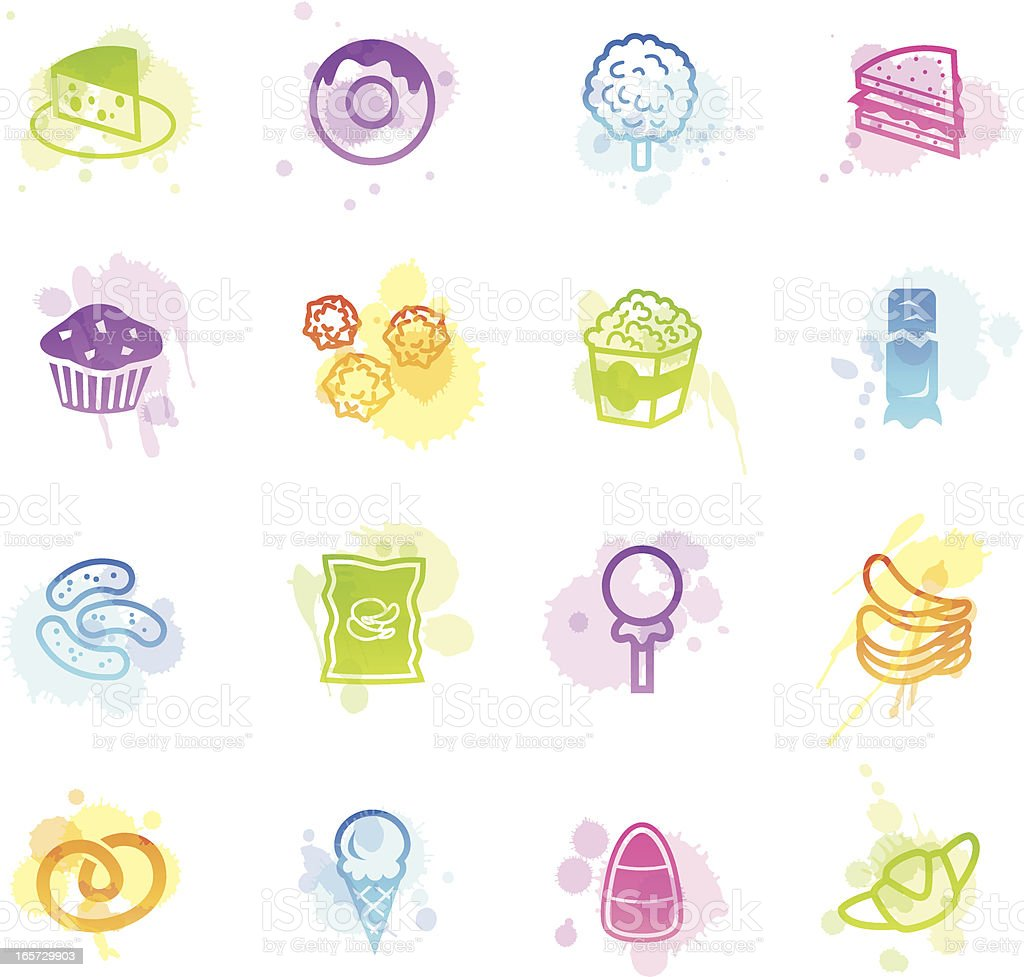 Stains Icons - Junk Food royalty-free stock vector art