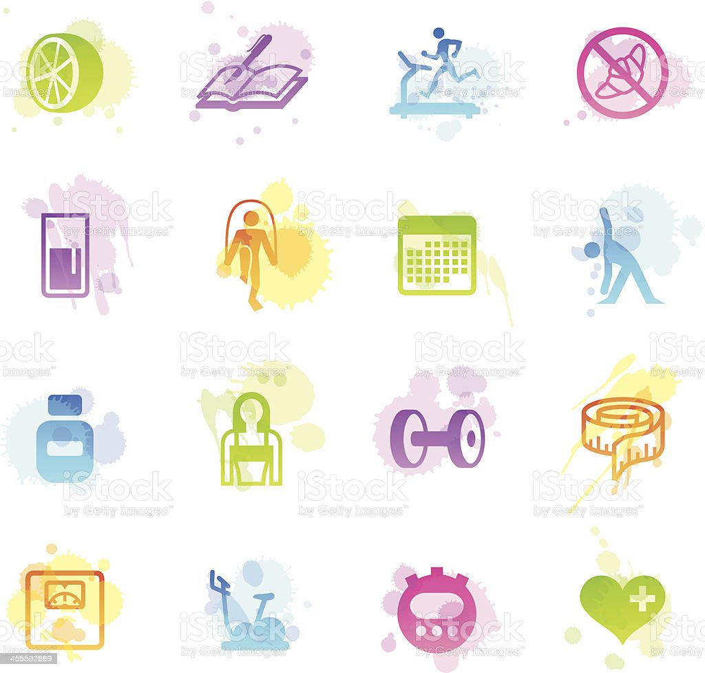 Stains Icons - Loosing Weight royalty-free stock vector art